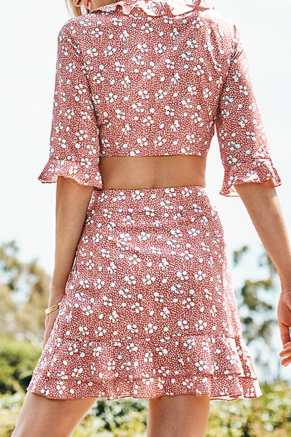 Ditsy Floral Two-Piece Skirt Set