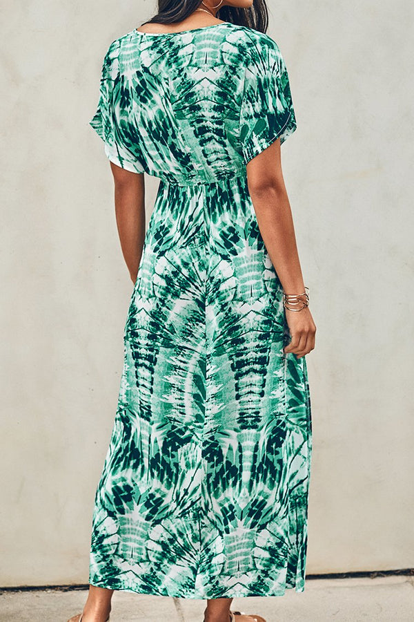 Green Tie-Dye V-Neck Maxi Dress
