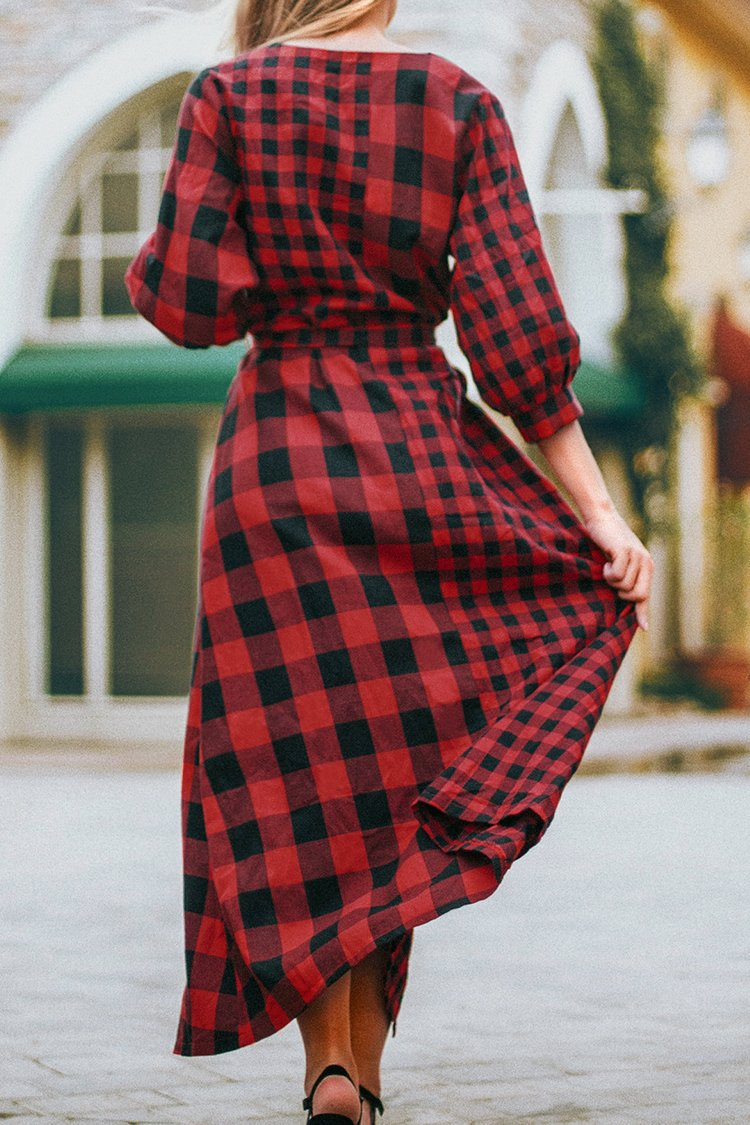 Red and Black Gingham Buttoned Midi Dress