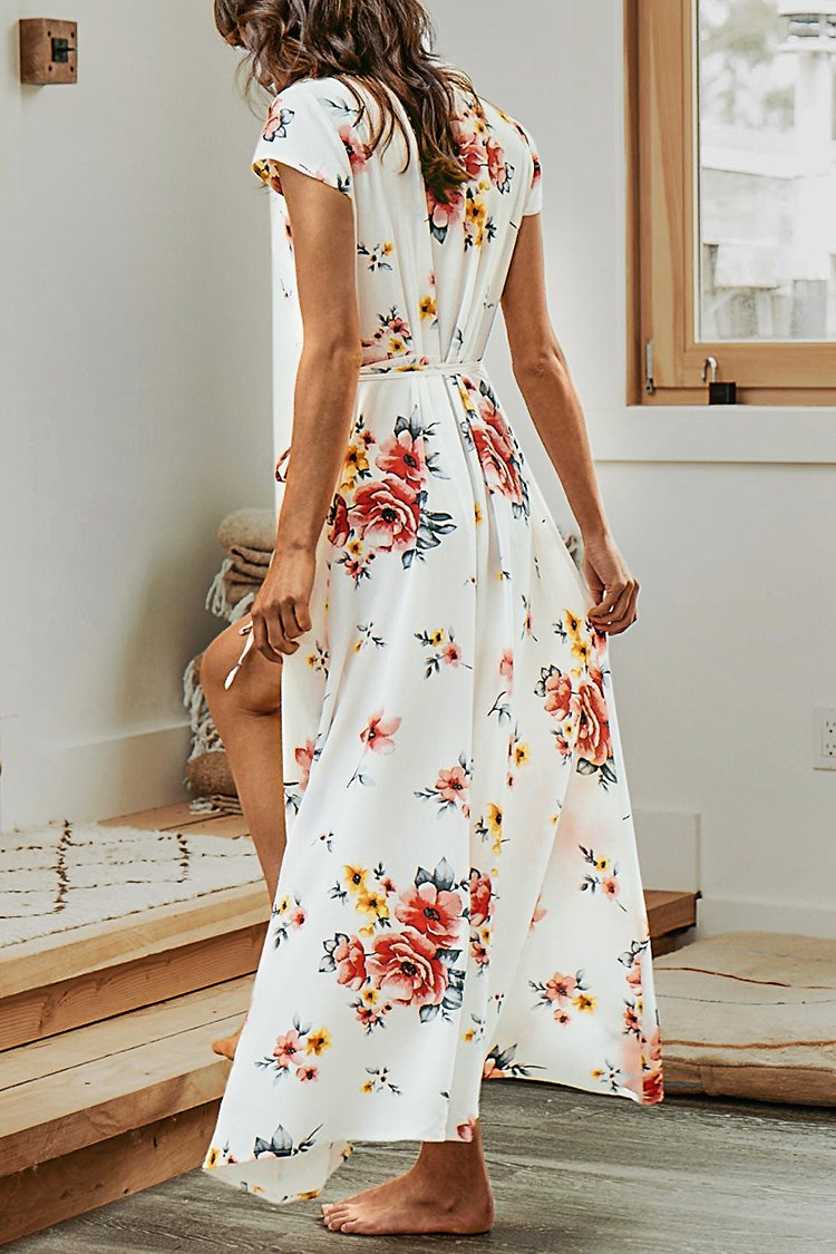 White Floral Print Wrap Dress