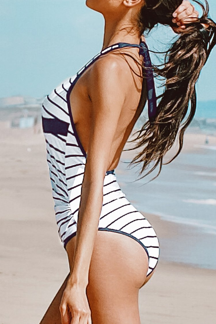 Deep Blue and White Stripe Halter One-Piece Swimsuit