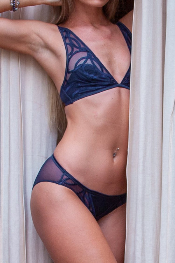 Navy V-neck Lingerie