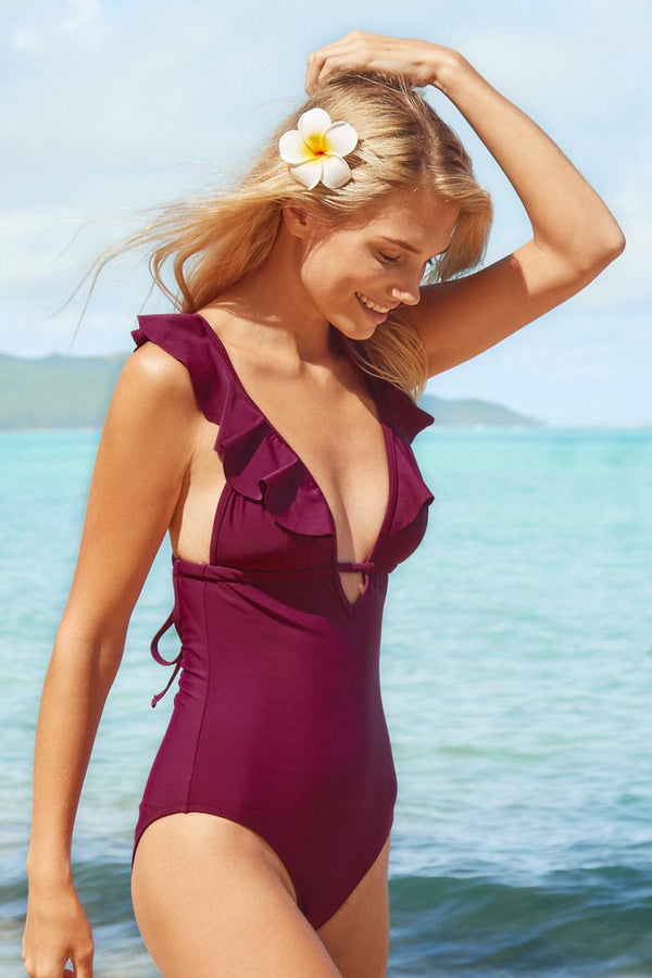 Heart Falbala One-piece Swimsuit
