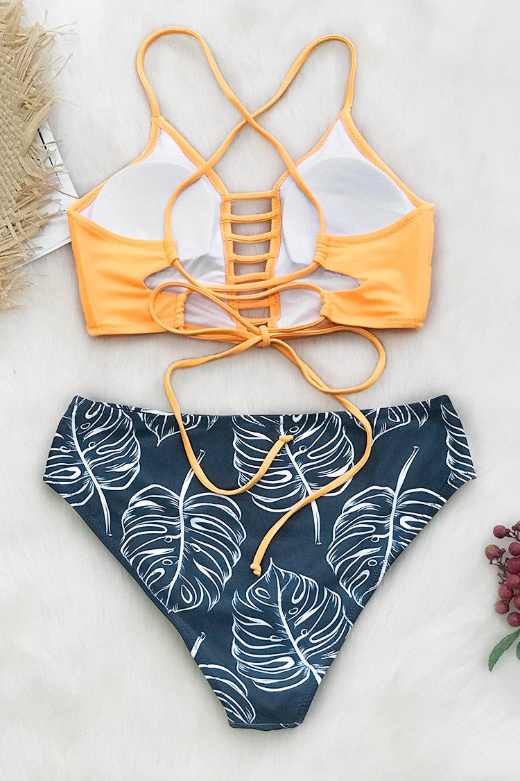 Yellow and Leaves Print Bikini