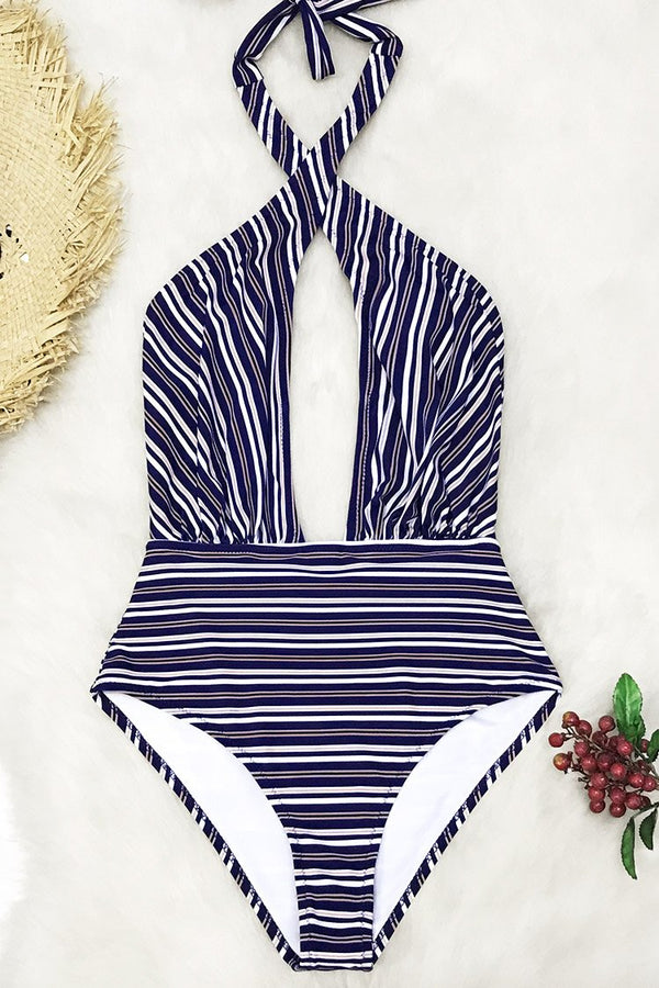 Blue Striped Wrap One-piece Swimsuit