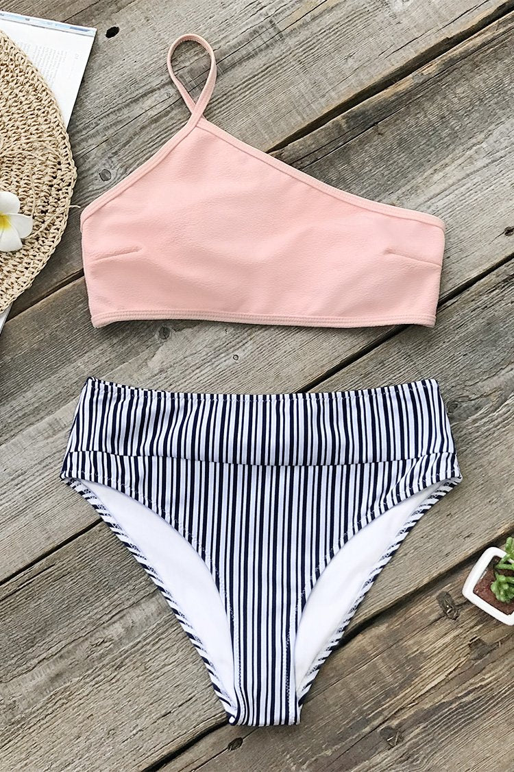 Pink White And Blue High-waisted Bikini