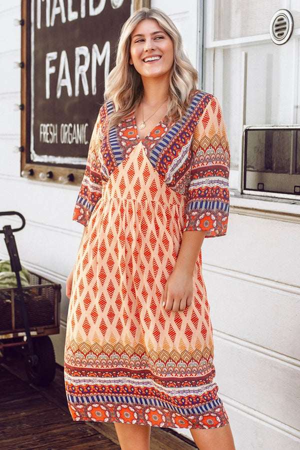 Boho Print V-Neck Plus Size Dress