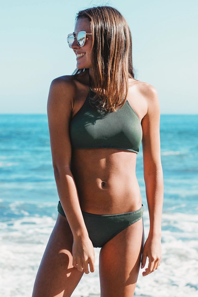 Matcha Ice Cream Halter bikini Set