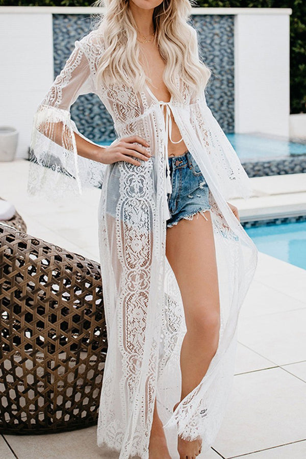 White Lace Self-Tie Cover Up with Fringe Trim