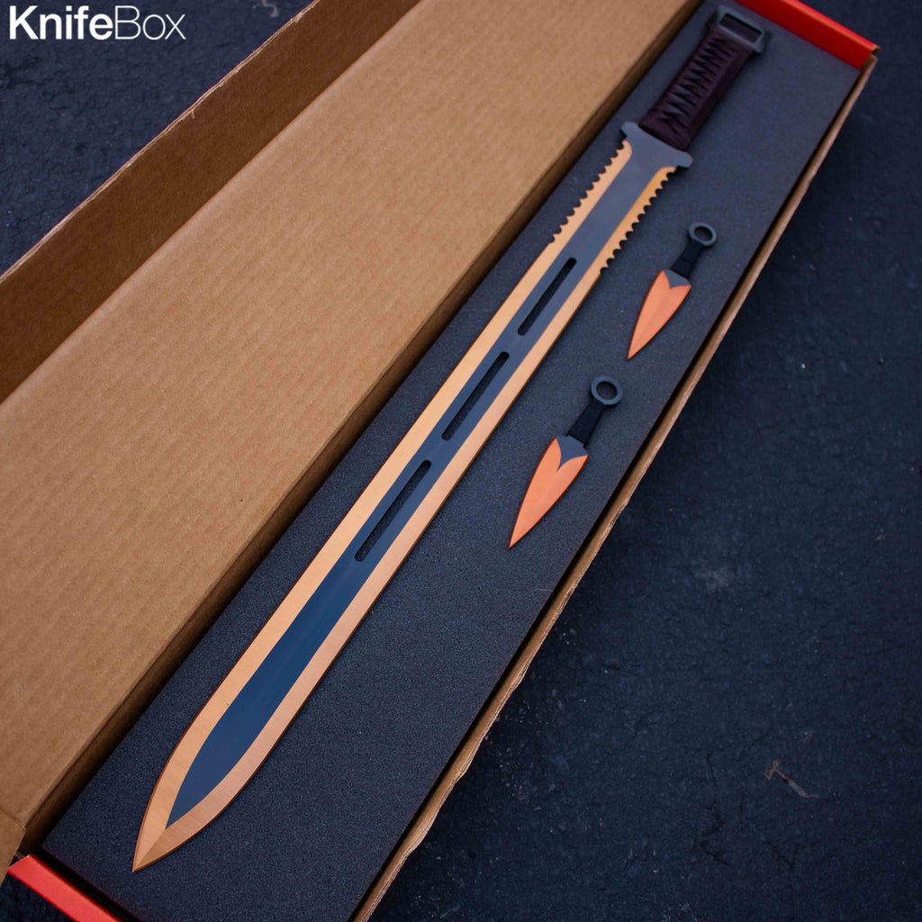 Blood Orange Ninja Sword w/ Throwing Knives
