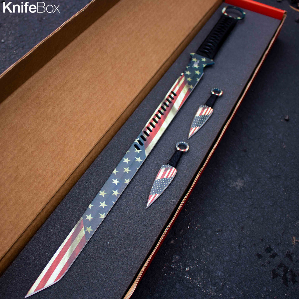 American Flag Ninja SwordBox (+ 2 throwing knives)