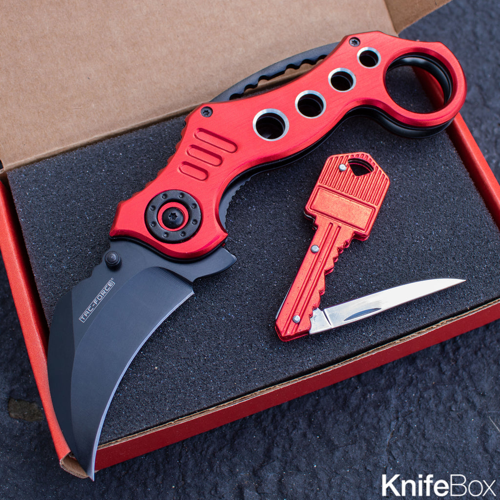 "8"" Red Speedster Karambit + Key Knife"