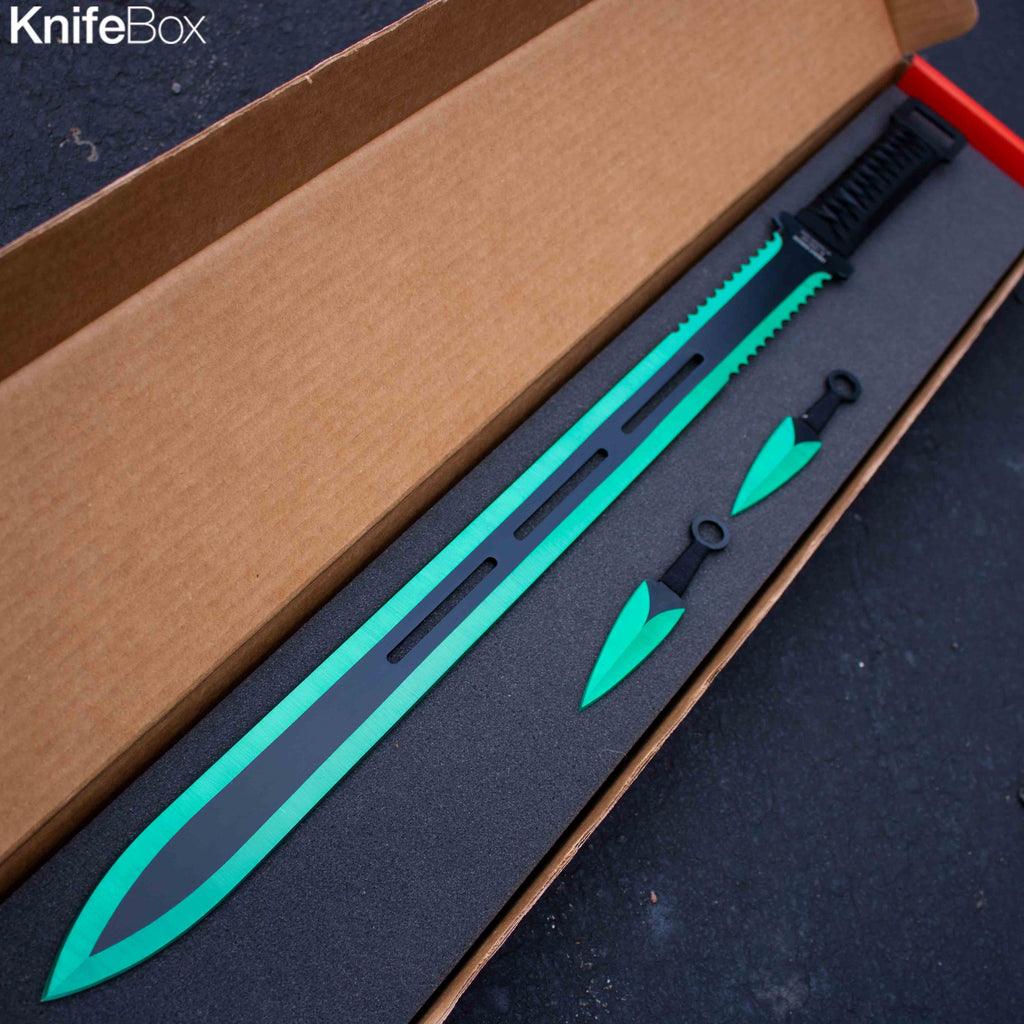 Slime Green Ninja Sword w/ Throwing Knives