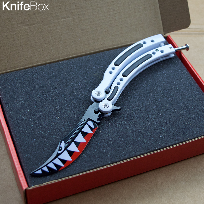 Shark Teeth Black/White Balisong Butterfly - June Gamers KnifeBox