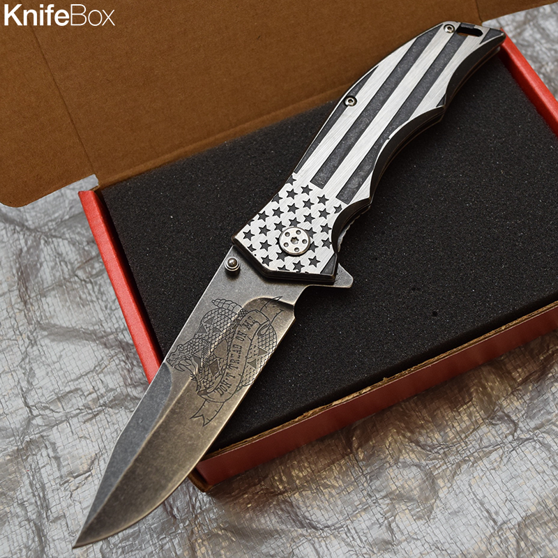 Stonewashed Blade Silver American Flag - February KnifeBox