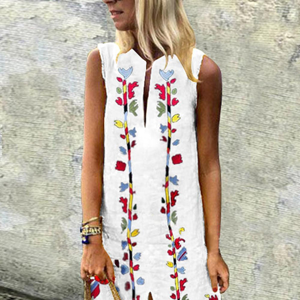 V-Neck Printed Cotton/Linen Dress