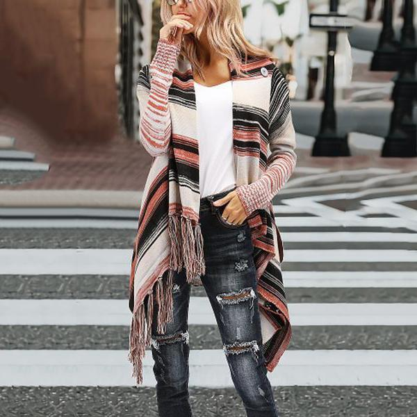 Asymmetric Neck  Asymmetric Hem Fringe  Striped Cardigans
