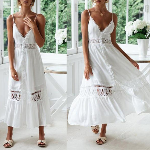 Chiffon Mosaic Lace Openwork Lace Beach Dress