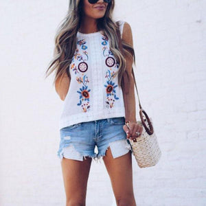 Round Neck  Embroidery  Vests