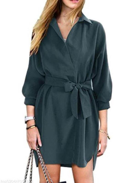Street Casual Loose Lapel Dress