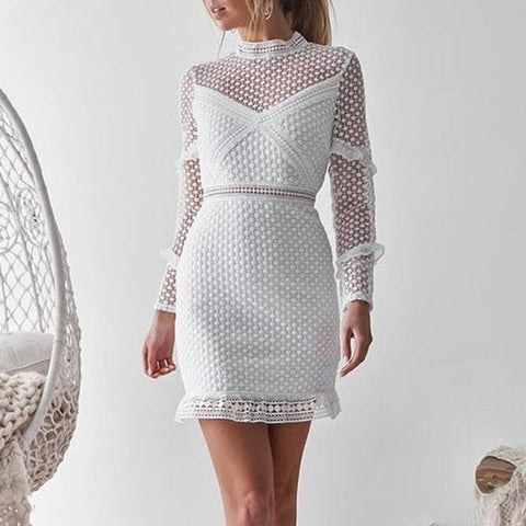 Sexy Lace Hollow Out Long Sleeve Bodycon Dress Mini Dresses
