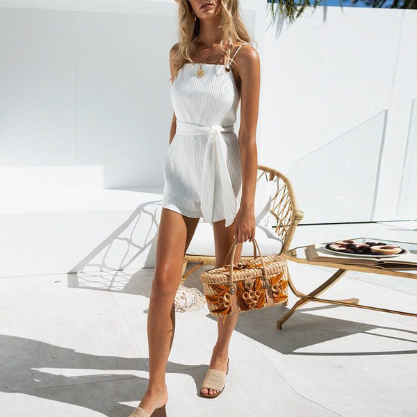 Fashion Sexy Backless Solid   Sleeveless Jumpsuit