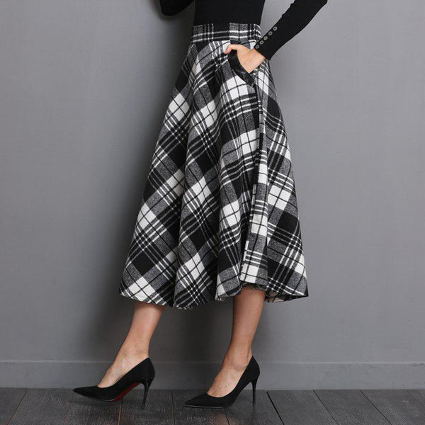 Vintage Woolen Plaid Flared Skirt
