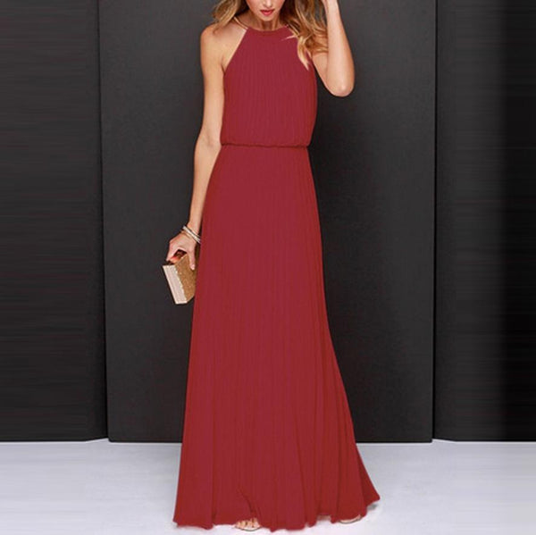 Elegant Pure Color Halter Vacation Dress