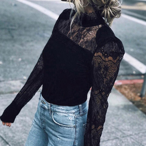 Elegant Standing Collar Lace Stitching Long-Sleeved Shirt