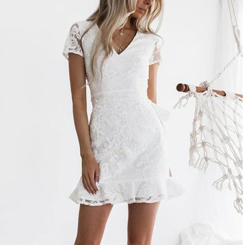 White Solid Color  V Neck Bodycon Dress
