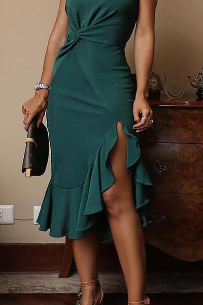 Sexy One Shoulder Irregular Ruffles Mini Bodycon Dress