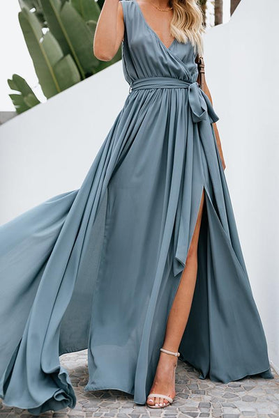 Elegant Sexy V Neck Sleeveless Maxi Dress
