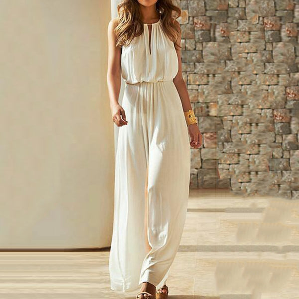 Sexy Fashion White Sleeveless Jumpsuit