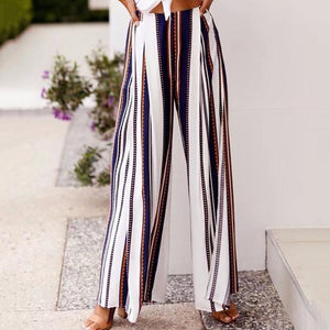 Loose-Striped Wide-Leg Pants