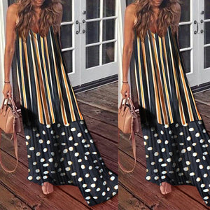 Fashionable Printed Striped Polka Dot Vacation Dress