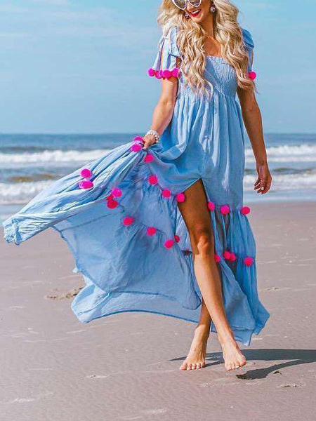 Fashion Square Collar Blue Fringe Maxi Dress