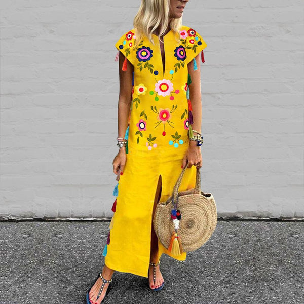 Vintage Printed Fringed Yellow Shift Dress