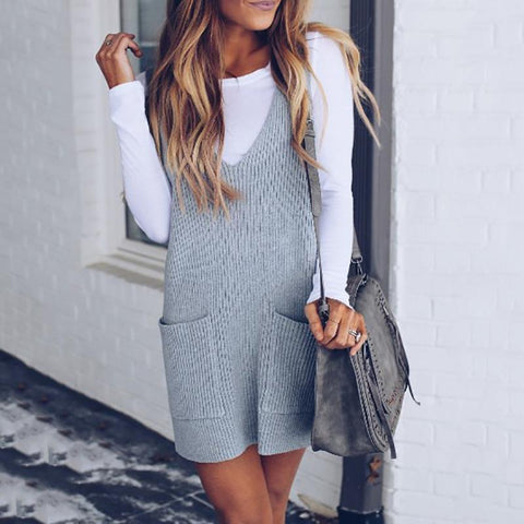 Fashion Sleeveless Knit Vest Dress