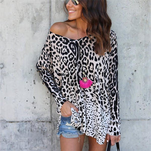 Fashion Sexy Fall New Wild Leopard Long Sleeve T-Shirt