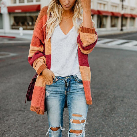 Fashion Color Block Long Sleeve Stripes Cardigans