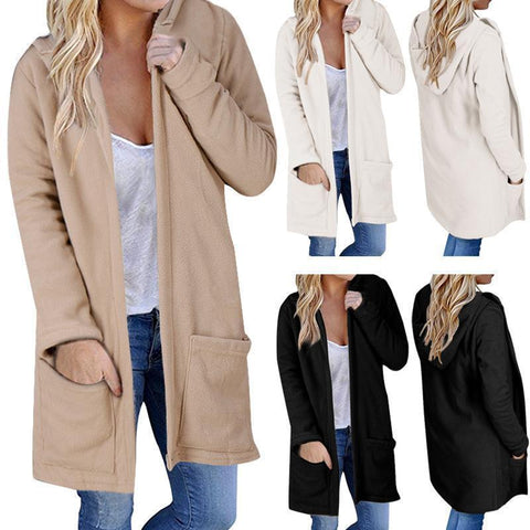 Hooded Plain Long Sleeve Pocket Casual Cardigans