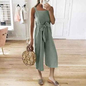 Casual Solid Color Cotton/Linen Bandage Jumpsuits