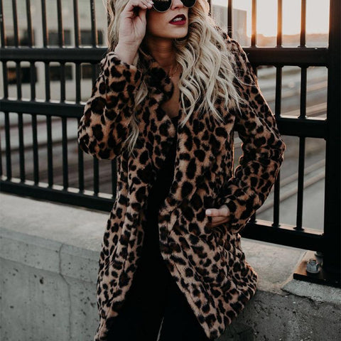 Fashion Winter Thicken Leopard Printed Coat