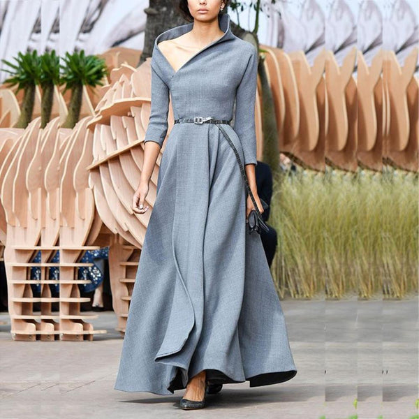Fashion Irregular Collar Sexy Long Evening Dress