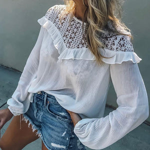 Fashion Lace Stitching Hollow Long Sleeve Blouses