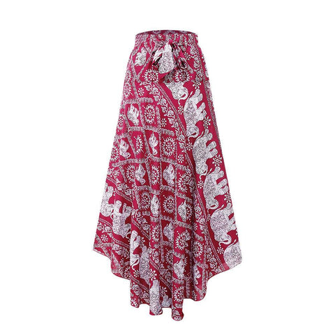 Bohemian Floral Printed Bowknot Lace-Up Maxi Skirt
