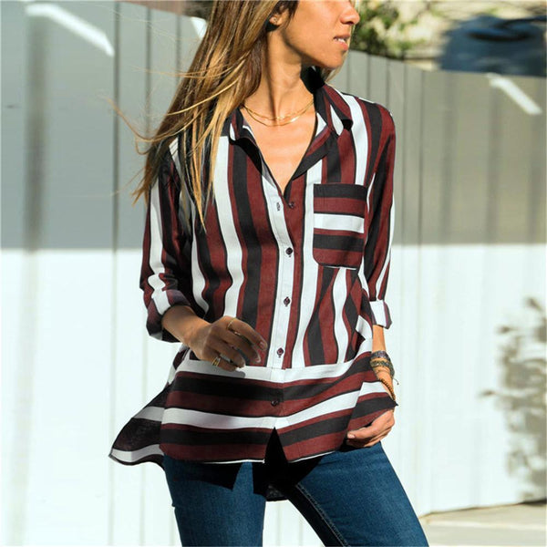 Spring Stripe Casual V Collar Chiffon Shirt