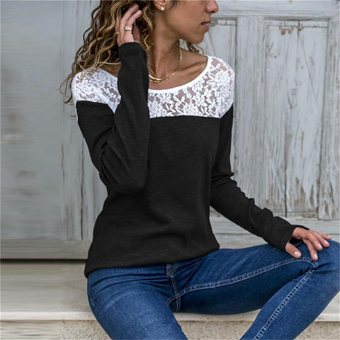 Spring Summer Round Collar Lace Split Joint Long Sleeves T Shirt