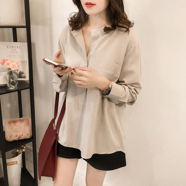 Fashion Stand Collar Plain Split Joint Loosen Shirt