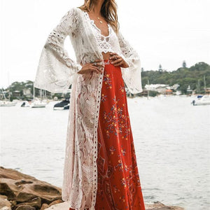 Sexy Lace Border Plain Hollow Long Vacation Cardigan